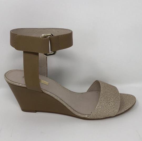Louise et Cie Tan and Gold Wedges Image 2