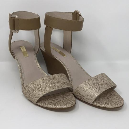 Louise et Cie Tan and Gold Wedges Image 5