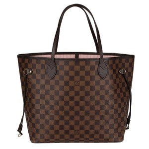 Louis Vuitton Neverfull Neverfull Mm Leather Shoulder Bags Damier Canvas Tote in Brown