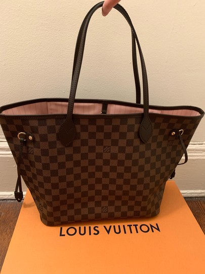 Louis Vuitton Neverfull Neverfull Mm Leather Shoulder Bags Damier Canvas Tote in Brown Image 2
