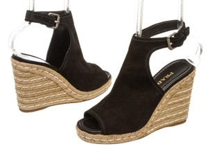 Prada Ankle Suede Black Wedges
