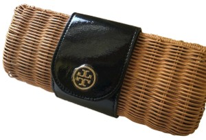 Tory Burch Rattan Straw Black Clutch