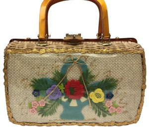 Vintage Wicker and Lucite!~ Satchel in Natural