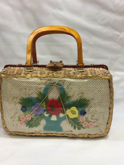 Vintage Wicker and Lucite!~ Satchel in Natural Image 1