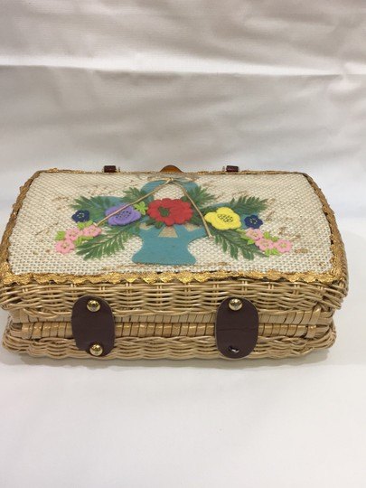 Vintage Wicker and Lucite!~ Satchel in Natural Image 2