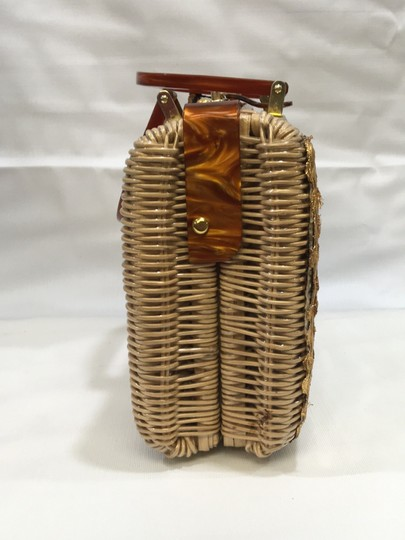 Vintage Wicker and Lucite!~ Satchel in Natural Image 3