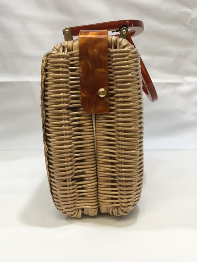 Vintage Wicker and Lucite!~ Satchel in Natural Image 4