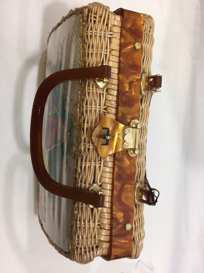 Vintage Wicker and Lucite!~ Satchel in Natural Image 5