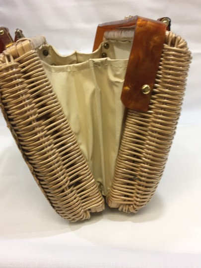 Vintage Wicker and Lucite!~ Satchel in Natural Image 7