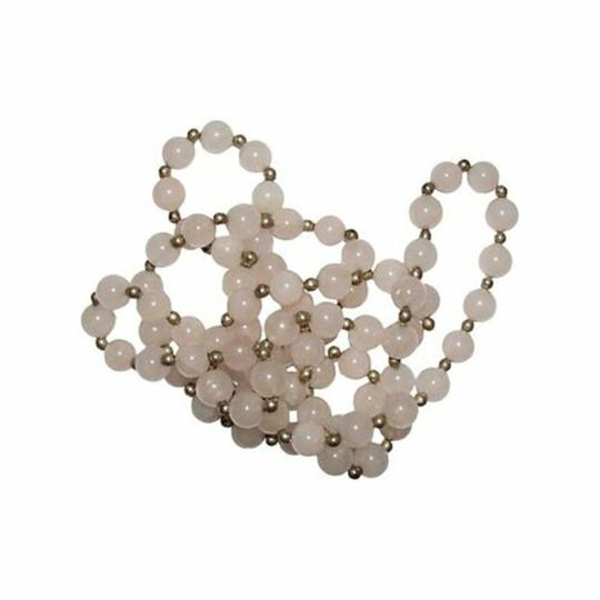 sterling silver Rose Quartz Silver Plated Bead Necklace Image 2