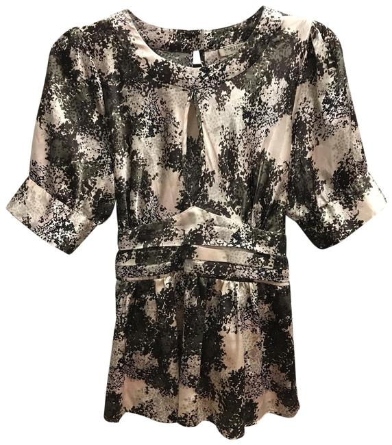 Item - Multicolor Printed Satin Stretch Poly M Blouse Size 8 (M)