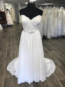 House of Wu Ivory Chiffon Private Collection A-line Destination Wedding Dress Size 20 (Plus 1x)