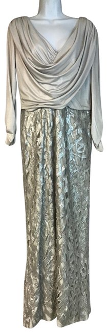 Item - Silver Embellished Evening Gown Long Cocktail Dress Size 10 (M)