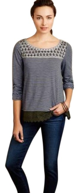 Preload https://img-static.tradesy.com/item/25820727/anthropologie-small-stripe-lace-trimmed-tee-shirt-size-6-s-0-1-650-650.jpg