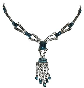 sterling silver Blue and White Silver Tone Rhinestone Necklace