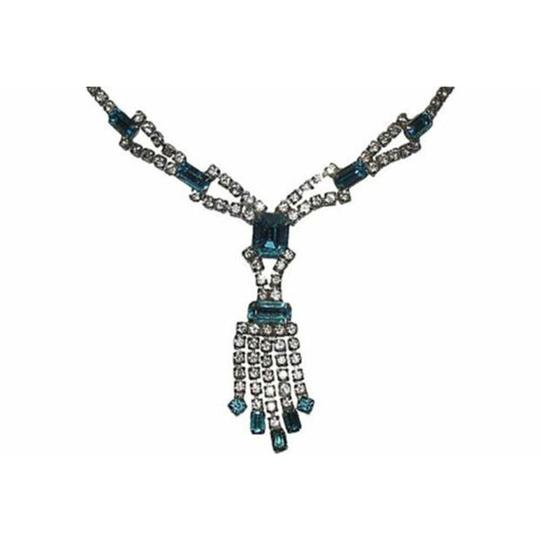 sterling silver Blue and White Silver Tone Rhinestone Necklace Image 2