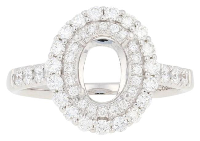 Wilson Brothers Jewelry White New Semi-mount Halo 18k Gold Oval Center Engagement .68ctw De4927 Ring Wilson Brothers Jewelry White New Semi-mount Halo 18k Gold Oval Center Engagement .68ctw De4927 Ring Image 1