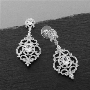 Silver Vintage Style Crystal Statement Earrings