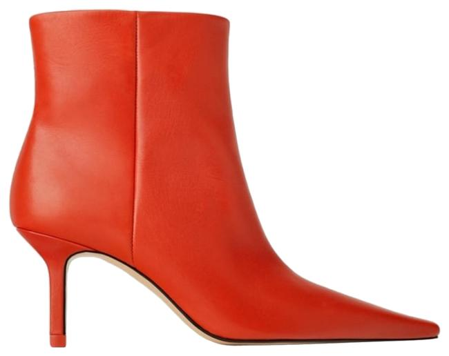 Item - Red Leather High Heel Ankle Boots/Booties Size US 7.5 Regular (M, B)