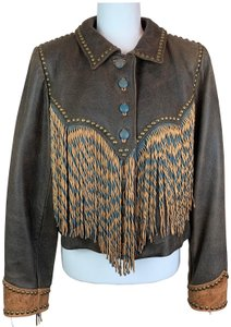 Double D Ranchwear Brown Fringe Distressed Leather Jacket