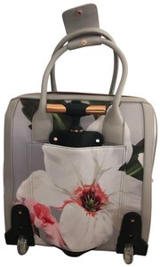 Ted Baker grey background, white, coral and pink flower print Travel Bag
