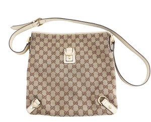 Gucci Leather Brown White Messenger Bag