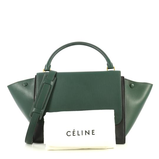 Céline Bicolor Trapeze Satchel in black and green Image 1
