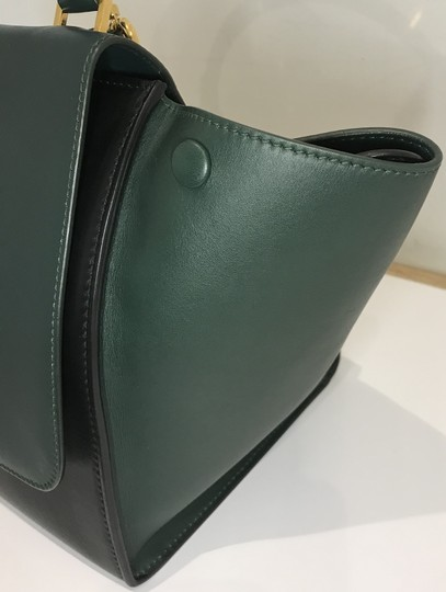 Céline Bicolor Trapeze Satchel in black and green Image 11