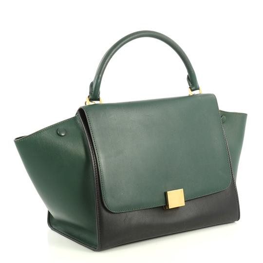 Céline Bicolor Trapeze Satchel in black and green Image 2