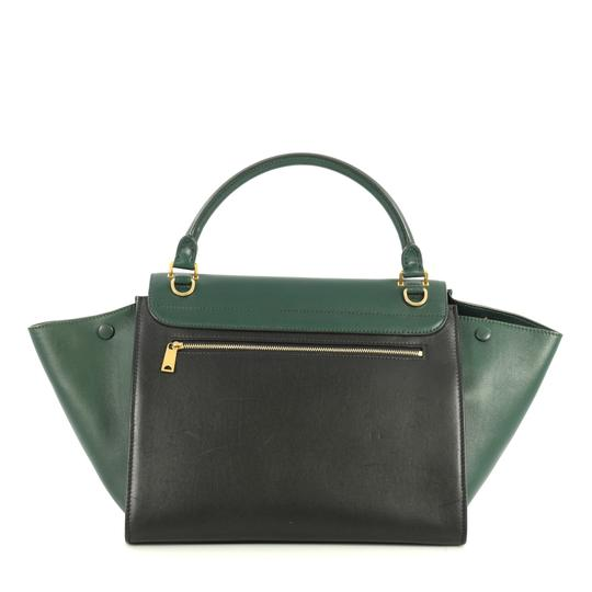 Céline Bicolor Trapeze Satchel in black and green Image 3