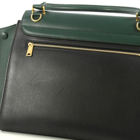 Céline Bicolor Trapeze Satchel in black and green Image 7