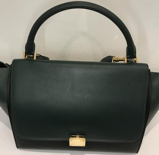 Céline Bicolor Trapeze Satchel in black and green Image 9