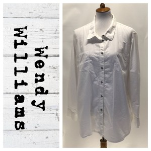 Wendy Williams Collection Button Down Shirt White