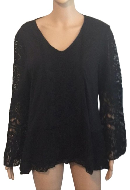 Preload https://img-static.tradesy.com/item/25822100/style-and-co-peplum-lace-long-bell-sleeve-boho-chic-western-black-sweater-0-1-650-650.jpg