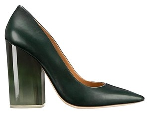 Tory Burch Pointed Toe Chunky Heel Leather Lucite Green Pumps