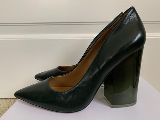 Tory Burch Pointed Toe Chunky Heel Leather Lucite Green Pumps Image 1