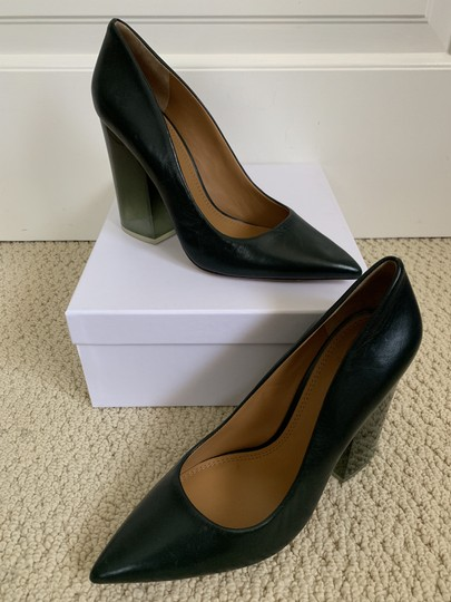 Tory Burch Pointed Toe Chunky Heel Leather Lucite Green Pumps Image 5