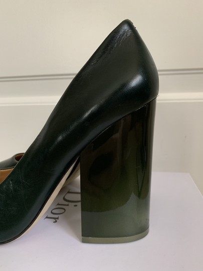 Tory Burch Pointed Toe Chunky Heel Leather Lucite Green Pumps Image 7