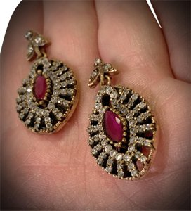 Fine Jewels VINTAGE RUBY POST EARRINGS Solid 925 Sterling Silver/Gold WOW! Gems: Brilliant Facet Marquise Rubies, Diamond Color Topaz GIFT BOXED