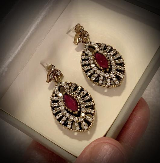 Fine Jewels VINTAGE RUBY POST EARRINGS Solid 925 Sterling Silver/Gold WOW! Gems: Brilliant Facet Marquise Rubies, Diamond Color Topaz GIFT BOXED Image 2