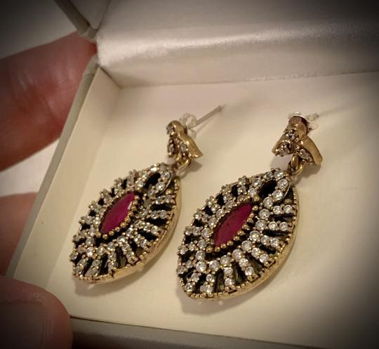 Fine Jewels VINTAGE RUBY POST EARRINGS Solid 925 Sterling Silver/Gold WOW! Gems: Brilliant Facet Marquise Rubies, Diamond Color Topaz GIFT BOXED Image 5