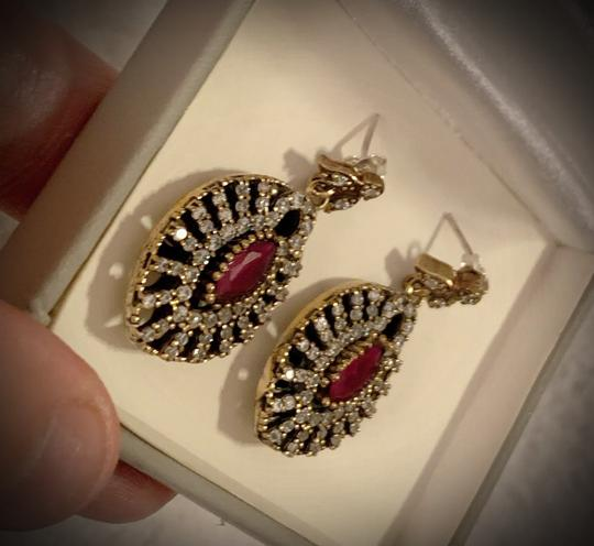 Fine Jewels VINTAGE RUBY POST EARRINGS Solid 925 Sterling Silver/Gold WOW! Gems: Brilliant Facet Marquise Rubies, Diamond Color Topaz GIFT BOXED Image 8