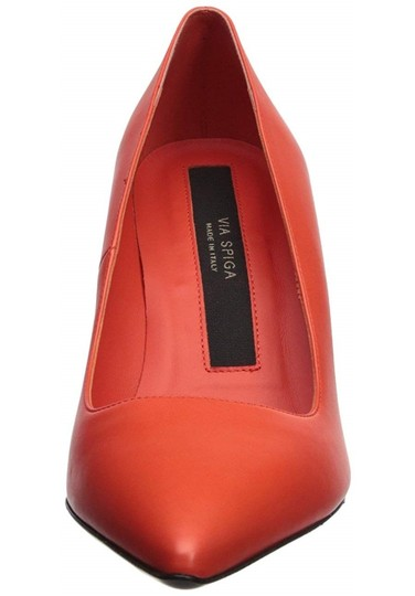 Via Spiga Leather Stiletto Orange Pumps Image 1