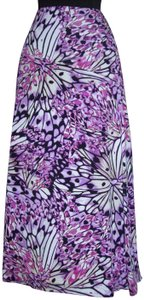 East 5th Essentials Butterfly Stained Glass Stretch Colorful Gypsy Skirt Purple