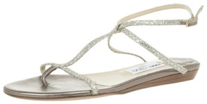 Jimmy Choo Leather Glitter Ankle Strap Gold Sandals