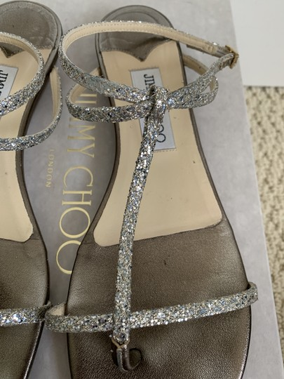 Jimmy Choo Leather Glitter Ankle Strap Gold Sandals Image 3