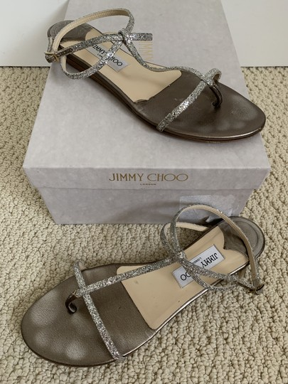 Jimmy Choo Leather Glitter Ankle Strap Gold Sandals Image 4