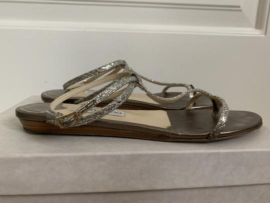 Jimmy Choo Leather Glitter Ankle Strap Gold Sandals Image 7