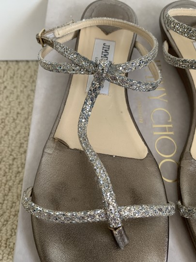 Jimmy Choo Leather Glitter Ankle Strap Gold Sandals Image 9