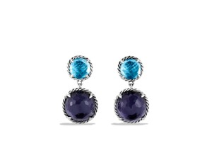 David Yurman Double Drop Earrings with Black Orchid and Blue Topaz